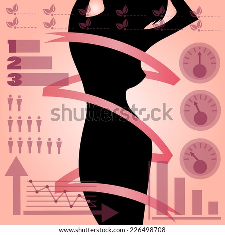 Vector silhouette girls and statistics - stock vector