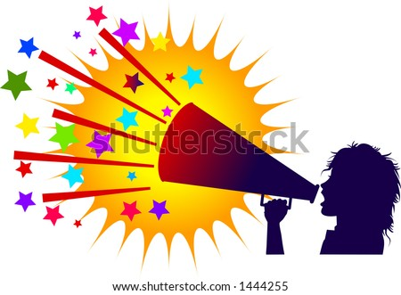 vector silhouette graphic depicting a cheerleader with a megaphone with colorful background (concept: advertise) - stock vector