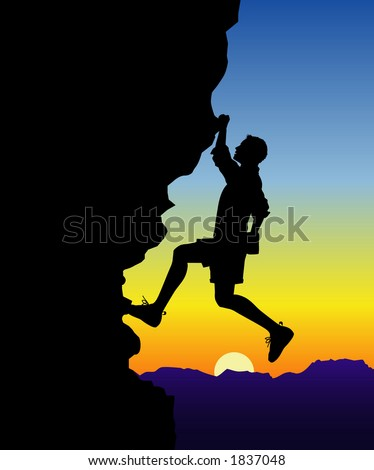 vector silhouette graphic depicting a man rock climbing