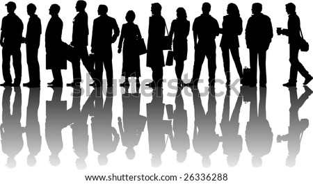 vector silhouette graphic depicting a queue of people - stock vector