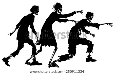 vector silhouette graphic depicting a three zombies - stock vector
