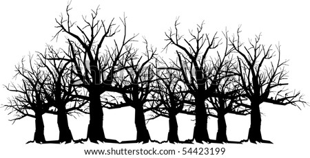 vector silhouette graphic depicting spooky, scary trees - stock vector