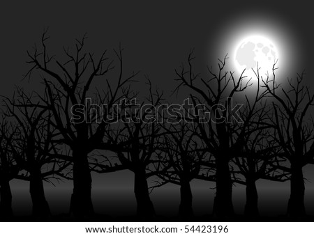 vector silhouette graphic depicting spooky, scary trees at night with a full moon - stock vector
