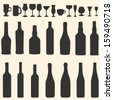 vector silhouette icon set - bottles and stemware - stock photo