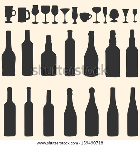 vector silhouette icon set - bottles and stemware - stock vector