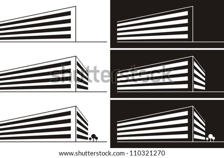 Vector silhouette illustration of a large commercial building - stock vector