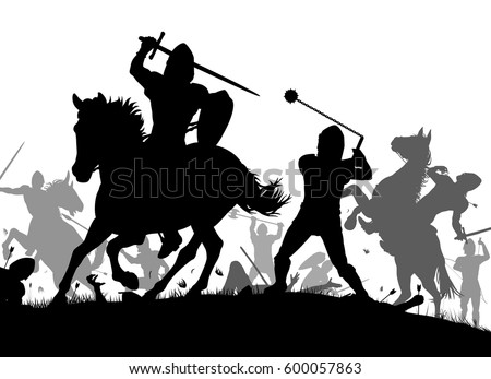 Vector silhouette illustration of a medieval battle scene with cavalry and infantry