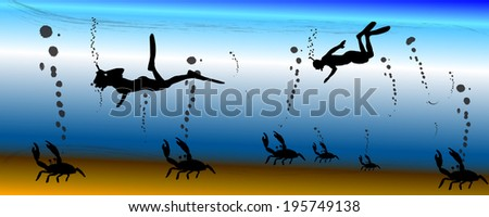 Vector silhouette illustration of the underwater world.