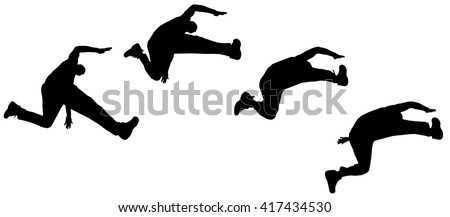 Vector silhouette jumping man on white background - stock vector