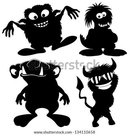 Vector silhouette. Monster set. - stock vector