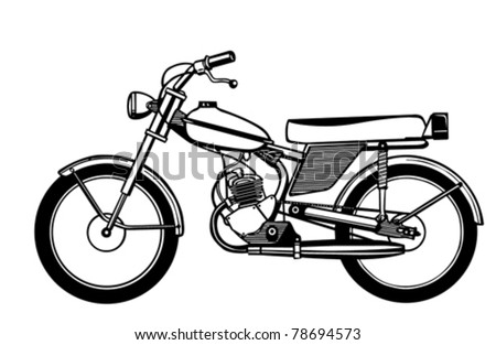 vector silhouette moped on white background - stock vector