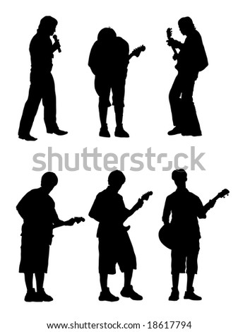 vector silhouette musician with guitar and singer. - stock vector