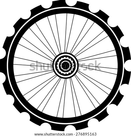 vector silhouette of a bicycle wheel isolated on white
