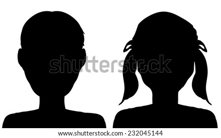 Vector silhouette of a boy and girl on a white background. - stock vector
