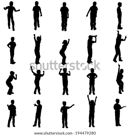 Vector silhouette of a boy on a white background. - stock vector