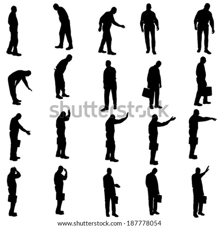Vector silhouette of a businessman a white background.