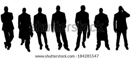 Vector silhouette of a businessman on a white background.