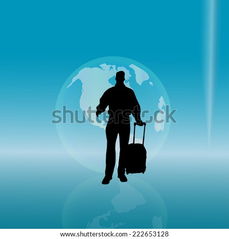 Vector silhouette of a businessman with a globe.