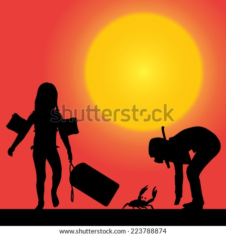 Vector silhouette of a children at sunset. - stock vector