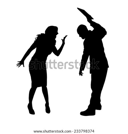Vector silhouette of a couple who is arguing on a white background. - stock vector