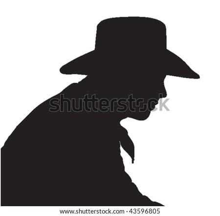 vector silhouette cowboy head shoulders wearing stock