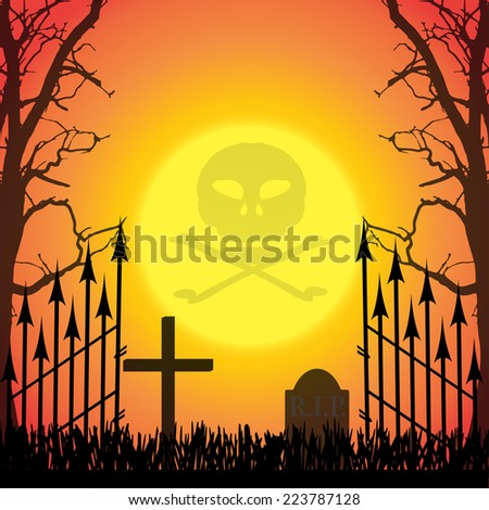 Vector silhouette of a cross in the cemetery at sunset. - stock vector