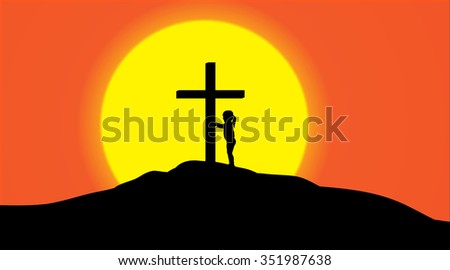 Vector silhouette of a cross on a hill at sunset.