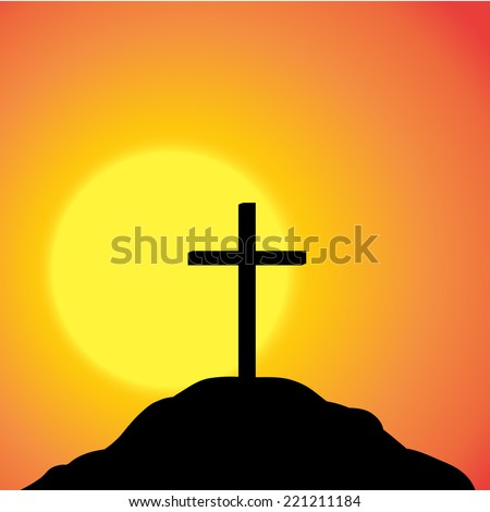Vector silhouette of a cross on top of a mountain at sunset. - stock vector
