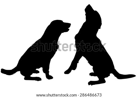 vector silhouette of a dog on a white background