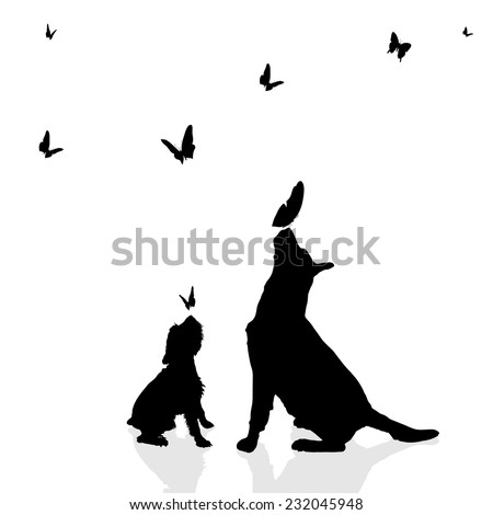 Vector silhouette of a dog surrounded by butterflies. - stock vector