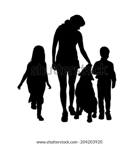 Vector silhouette of a family with a dog on a white background.
