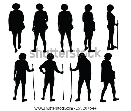 Vector silhouette of a female in different positions hiking or walking with stick