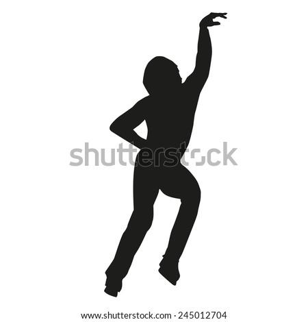 Vector silhouette of a figure skater - stock vector