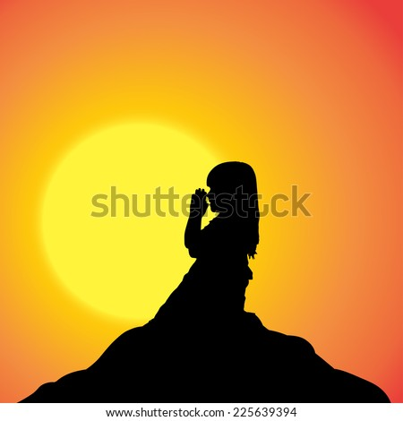Vector silhouette of a girl in nature at sunset.