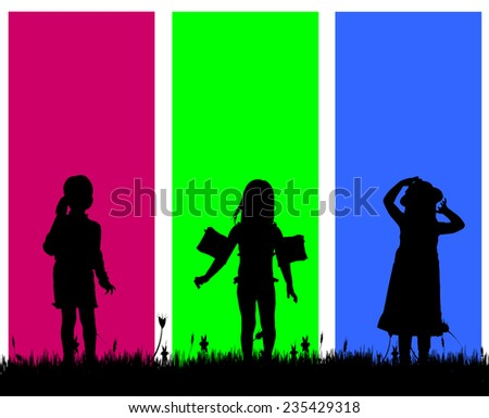 Vector silhouette of a girl on a colored background.
