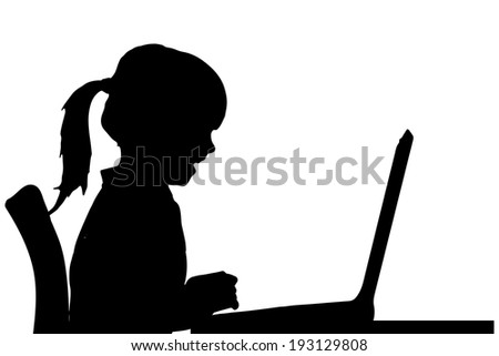 Vector silhouette of a girl sitting at a computer on a white background. - stock vector