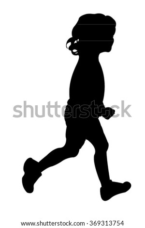 Vector silhouette of a girl while running - stock vector