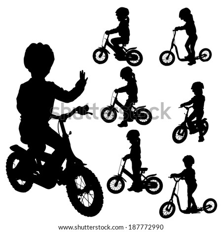 Vector silhouette of a girl who rides a bike.