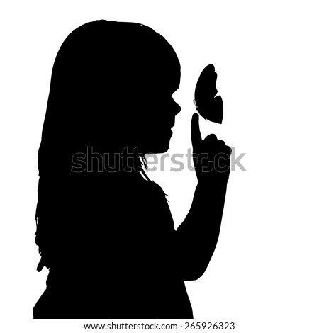 Vector silhouette of a girl with a butterfly.