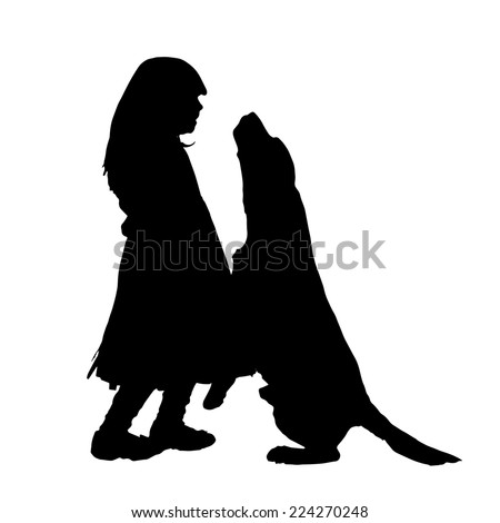 Vector silhouette of a girl with a dog. - stock vector
