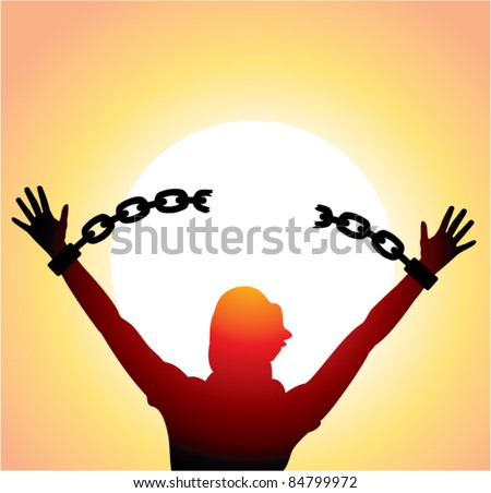 vector silhouette of a girl with raised hands and broken chains - stock vector