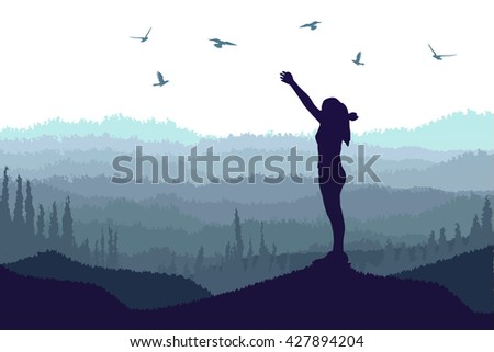 vector silhouette of a girl with raised hands on top of the mountain and flying bird - stock vector