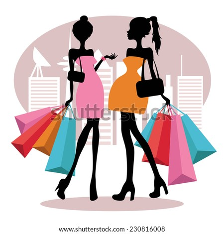 vector silhouette of a girls with shopping bags in the city - stock vector