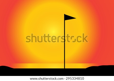 Vector silhouette of a golf course at sunset. - stock vector
