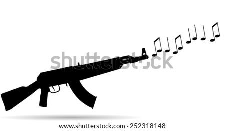 Vector silhouette of a gun that shoots notes. - stock vector