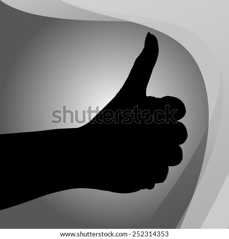 Vector silhouette of a hand on a gray background.