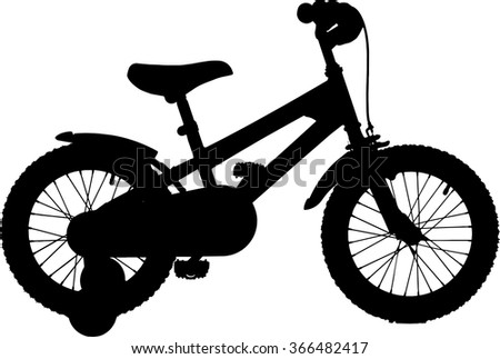Vector silhouette of a kids bicycle with training wheels