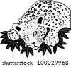 Vector silhouette of a leopard lying in ambush on the leaves. - stock vector