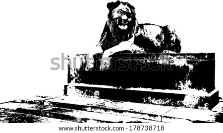Vector silhouette of a Lion on a pedestal, scientifically known as Panthera Leo.