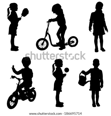 Vector silhouette of a little girl in different situations. - stock vector